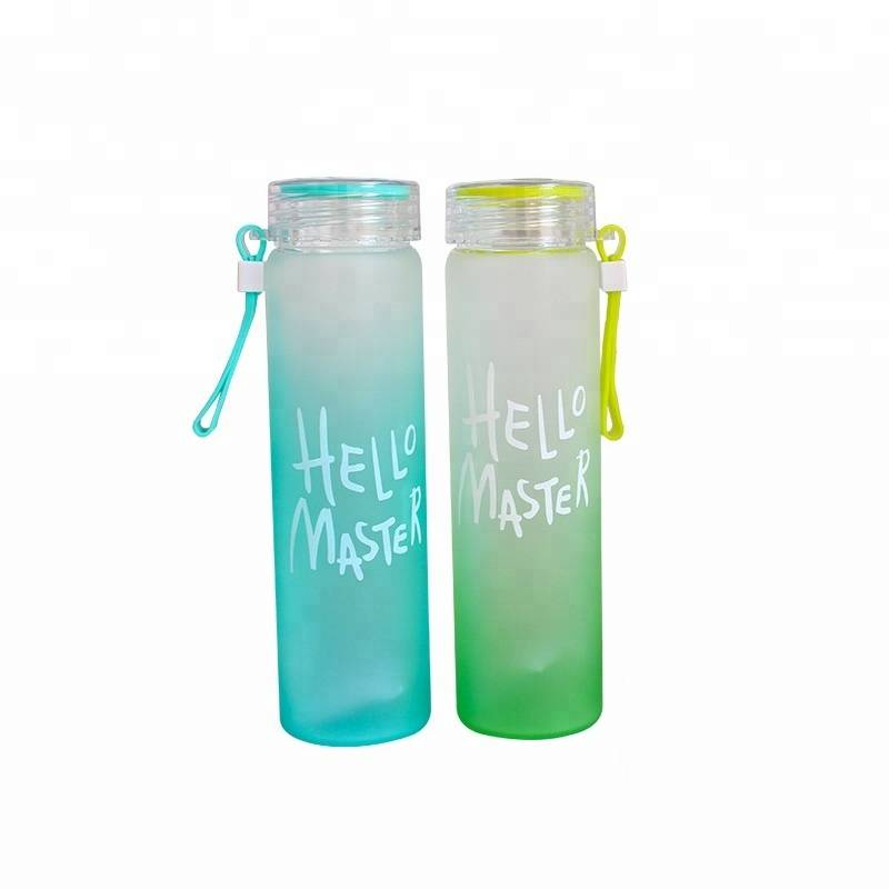 Christmas gift 480ml HELLO MASTER Frosted color high silicon glass water bottle
