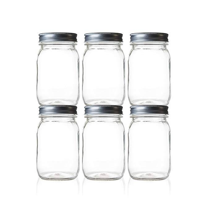 Regular Mouth Glass 16Oz Mason Jars  With Metal Lids