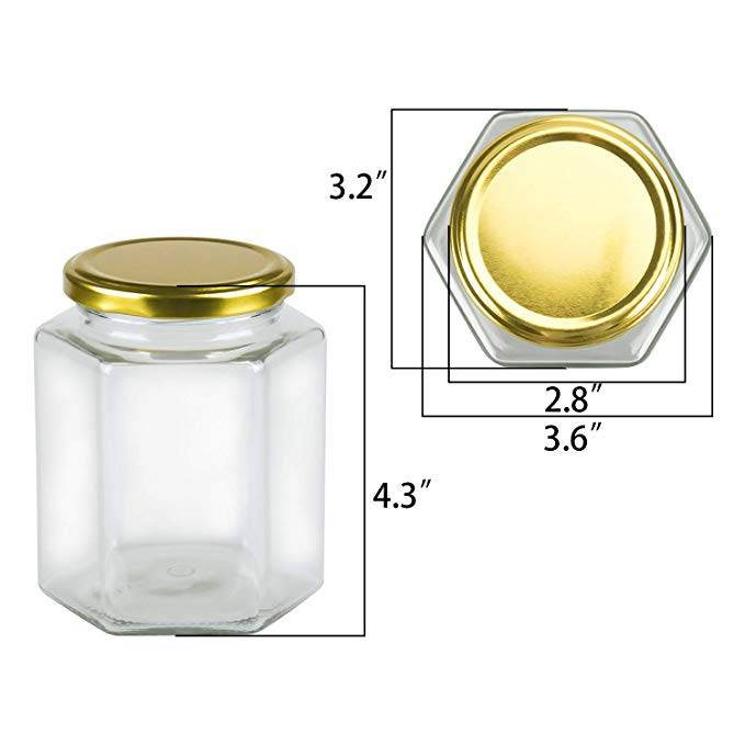 16 oz Clear Hexagon Glass Jars For Herbs Foods Jams Liquid Spice