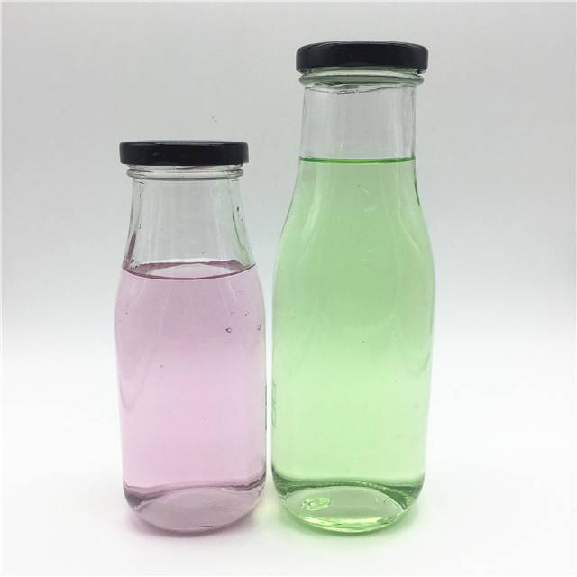 Food Grade Lead-Free 300ml 400ml Milk Glass Bottle With Metal Cap