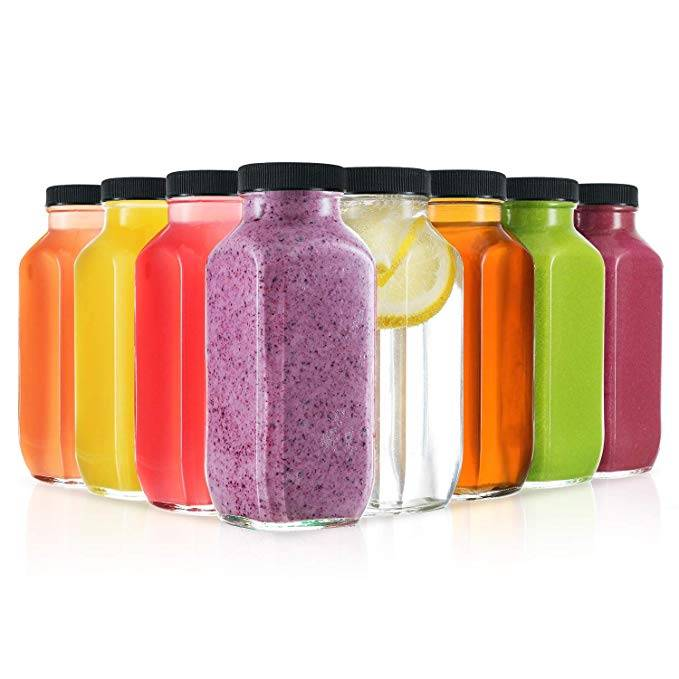 Square  Drink  Juices Smoothies  Glass Bottles 8 Ounce