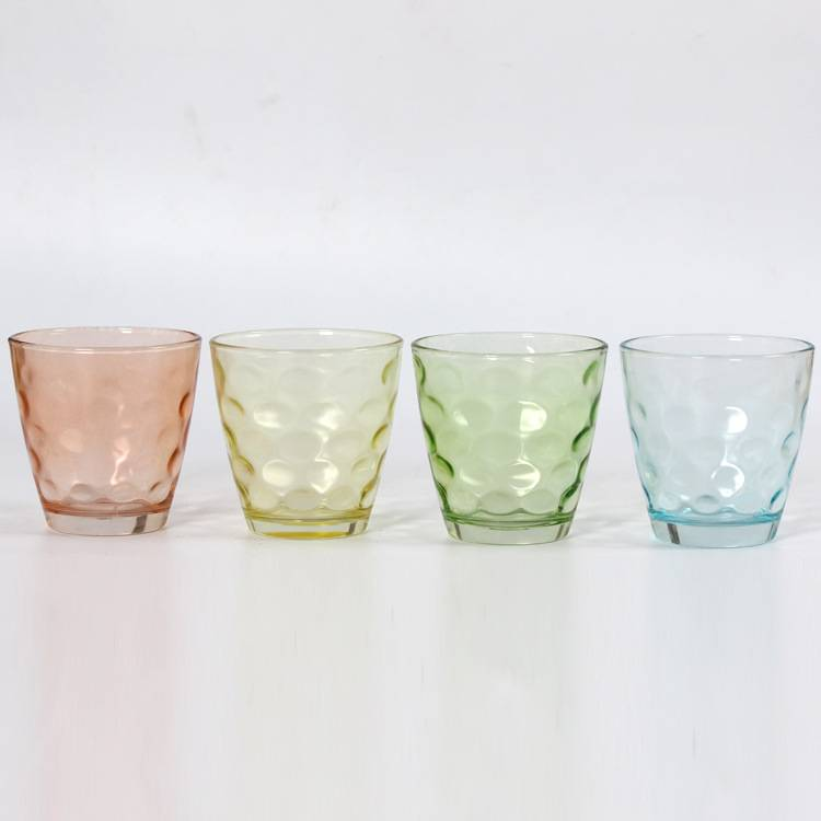 colorful glass cup glass whisky cup juice cup set