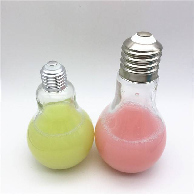 Christmas gift 300ml 500ml light bulb glass bottle for drinking /juice/tea milk bottle