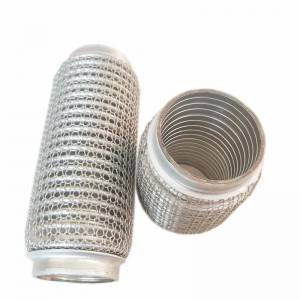 Outer wire mesh flexible exhaust pipe with interlock