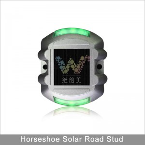 Green LED flashing light aluminum solar power road stud