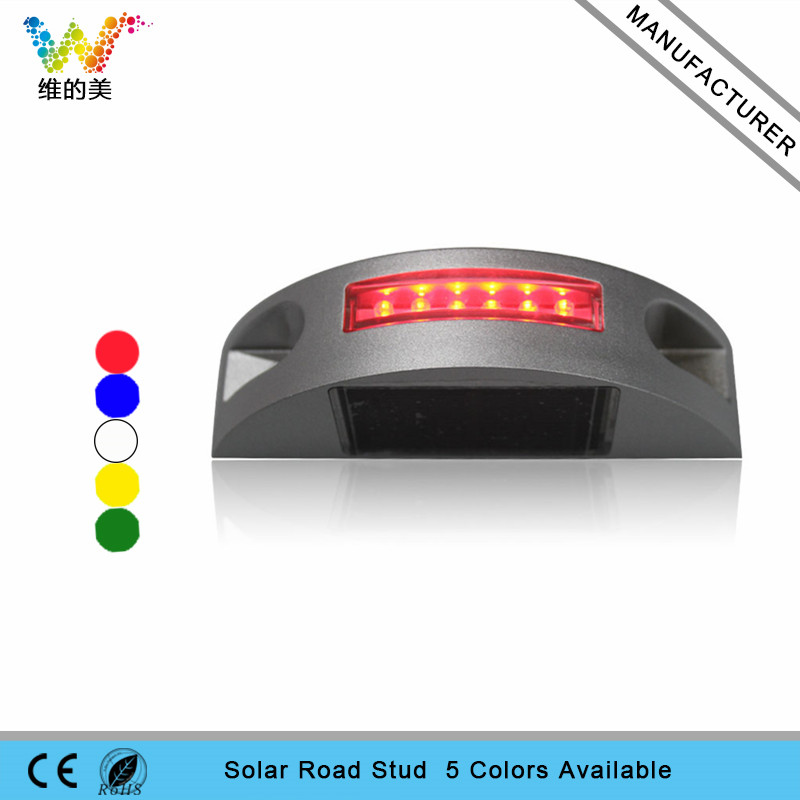New design one side aluminum housing red flashing LED solar power road stud