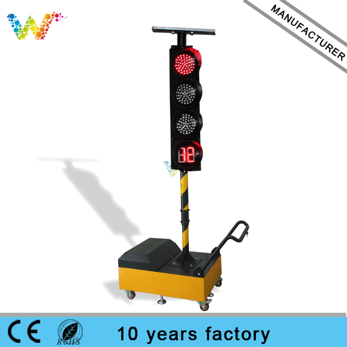 Trolley Remote Control 200mm LED Solar temporary traffic light