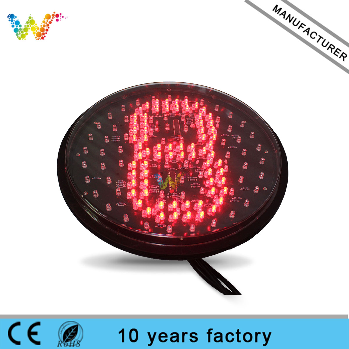 300mm yellow full plate with single 8 countdown timer traffic light lampwick