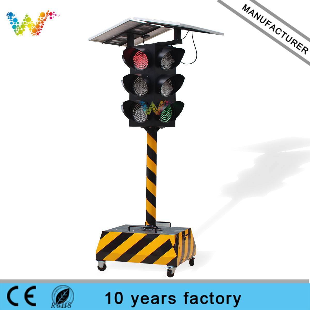 300mm solar portable red yellow green traffic light