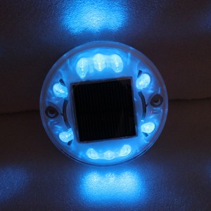 High quality white shell round design blue LED flashing light solar power landscape light