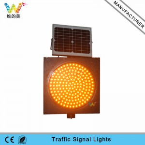 Road safety yellow LED blinker signal 400mm solar traffic light
