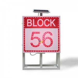 New BLOCK sign board with stand solar traffic sign