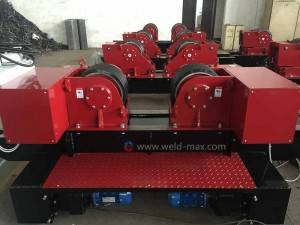 10T Red Conventional Fit-up Pipe Growing Line With 6-60m/h Wheel Velcocity PU Wheels
