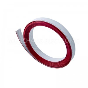 UL2651 AWG28 PVC Flat Kabel Faarf Grey mat Red Stripe