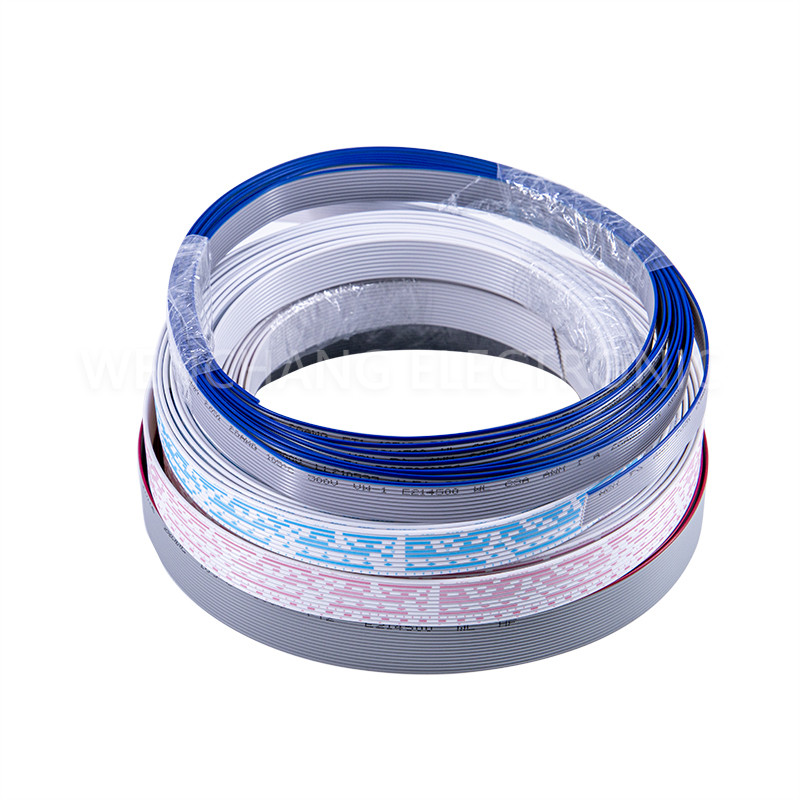 UL2651 PVC Flat Cable Colour Grey with Blue Stripe