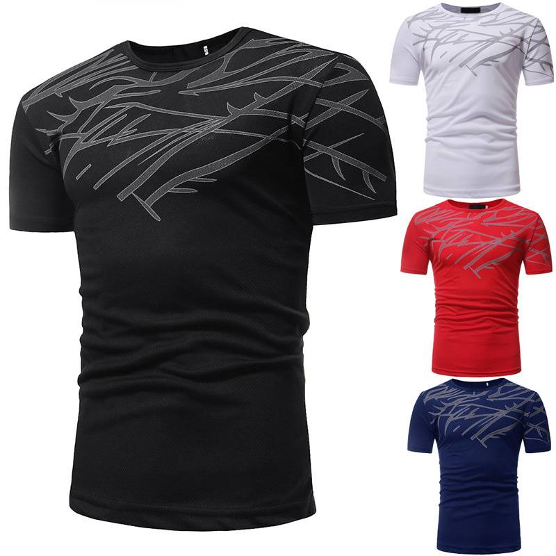 Mesh Printed T Shirts Short Sleeve Mens New Version Cheap Price Factory Featured Image