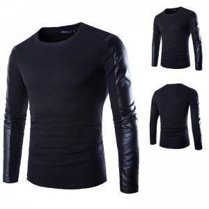 PU Leather T Shirt Men Long Sleeve Autumn Spring Blank Round Neck