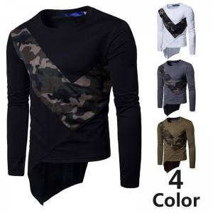 Printing T Shirts Plus Size Men Cotton Long Sleeve Breathable