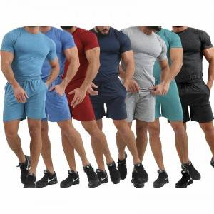 Track Suit Men Slim Fit T Shirt Shorts Cheap Low MOQ Quick Dry Supplier