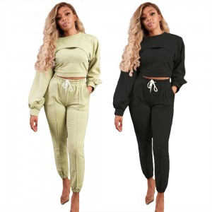 3pcs Women Tracksuit Crop Top Joggers Tank Top Long Sleeve Fashion New Design Sexy