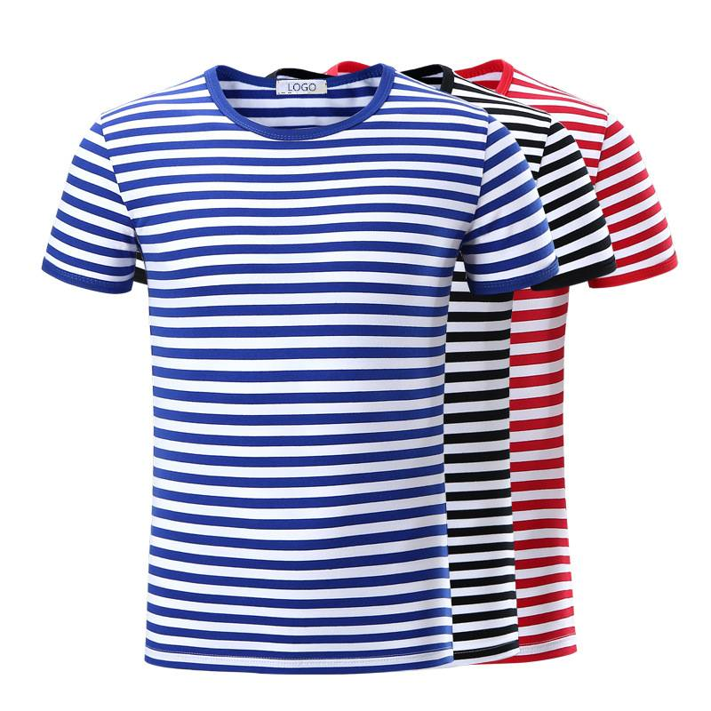 Stripe T Shirts Unisex Short Sleeve Summer Knitted Top Bulk Manufacturer Featured Image