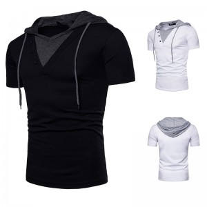 V Neck Hoodies Summer Short Sleeve Buttons Contrast Casual Loose