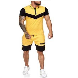 Polo Shirt and Shorts Set Two Piece Zipper Men Sports Fashion Summer Factory