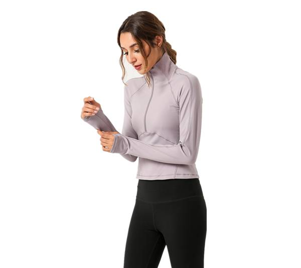 China New Product Yoga Pants Custom - Women Sport Tops Gym Outwear Long Sleeve Half Zipper – Westfox