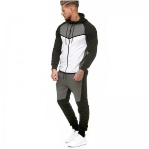 Hooded Jacket and Joggers Comfortable New Style Zipper Contrast Running Fitness Basketball Sportswear