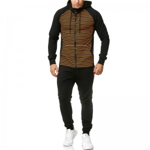 Zipper Tracksuit Men Stripe Custom Logo Cheap Slim Fit Wholesale