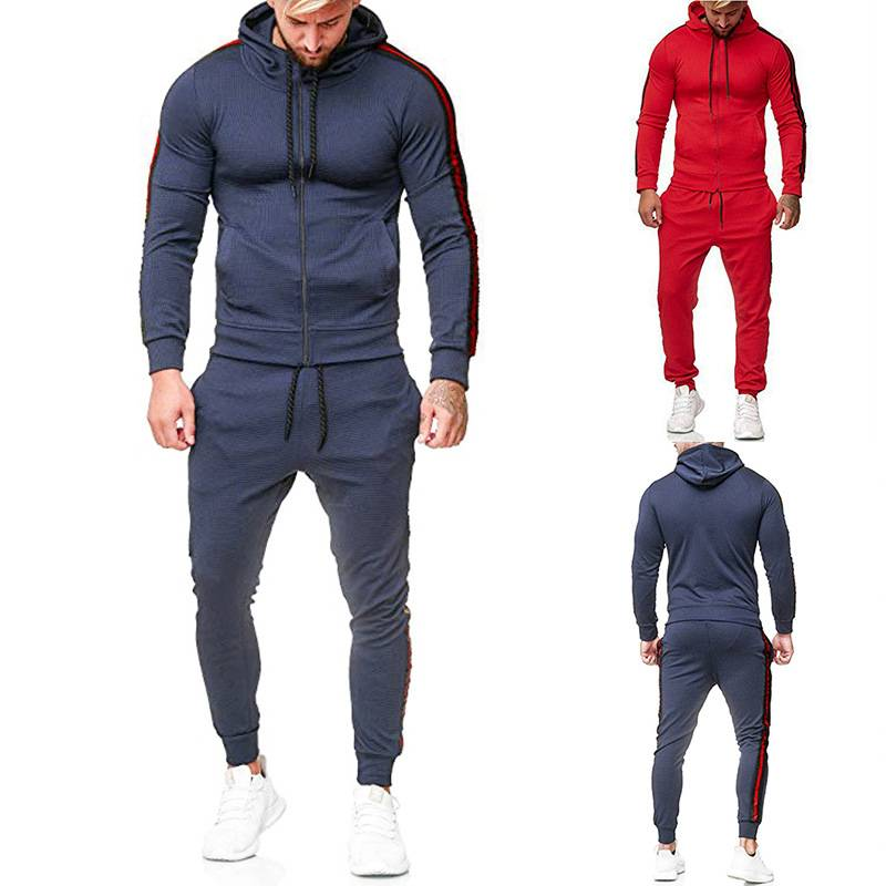 Track Suit Men Side Stripe Sports Wear Blank Cotton Polyester Unbranded Featured Image