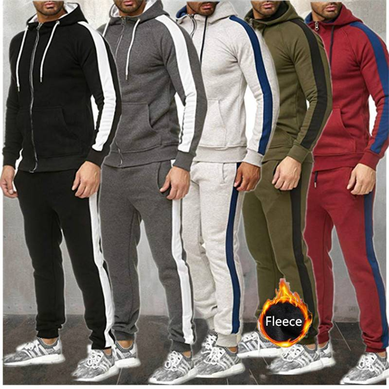 Men Sweat Suit Tracksuit Sport Hoody Joggers Fleece Thick Fashion Featured Image