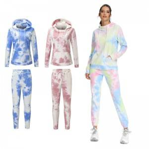 Ladies Tracksuit Wholesale Tie Dye Active Knitting Oversized