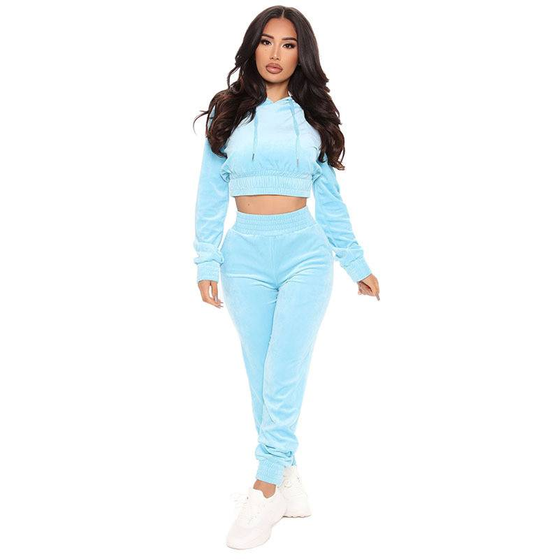 2 PCS Set Jogging Suit Velour Sports Crop Top Joggers Running Fitness Featured Image