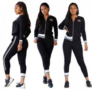 Women Track Suit Stock Stripe Zipper Running Sports Embroidery