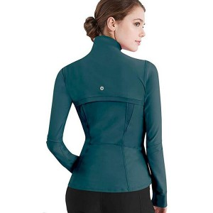 Full Zip Up Yoga Jacket with Thumb Holes Workout Running Track