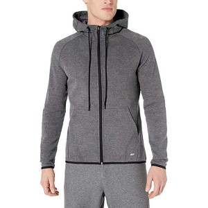 Long sleeve mens tech fleece full zip active sweatshirt with hooded