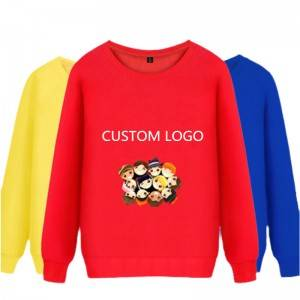 Crew Neck Sweatshirts Terry Cloth Pullover Printed Knitted Fashion