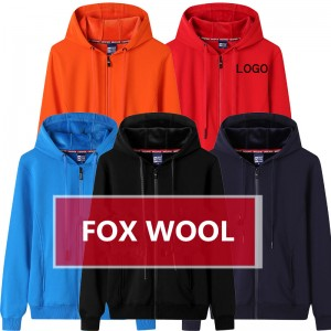 Wool Hoodies Zip Up Sweatshirt Fleece Thick Winter Blank Custom Logo