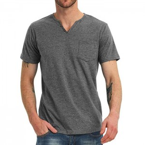 Men's Casual Slim Fit Short Sleeve Pocket T-Shirts Cotton V Neck Tops