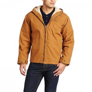 Men's Sanded Duck Sherpa Lined Hooded Jacket