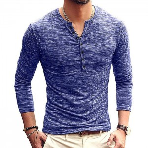 Mens Casual Slim Fit Basic Long Sleeve Fashion T shirt