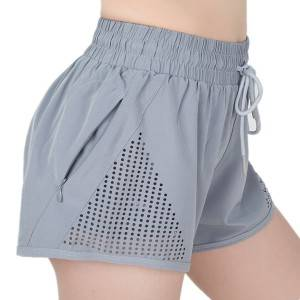 Sport Shorts Mesh Women Polyester Spandex Two Pieces