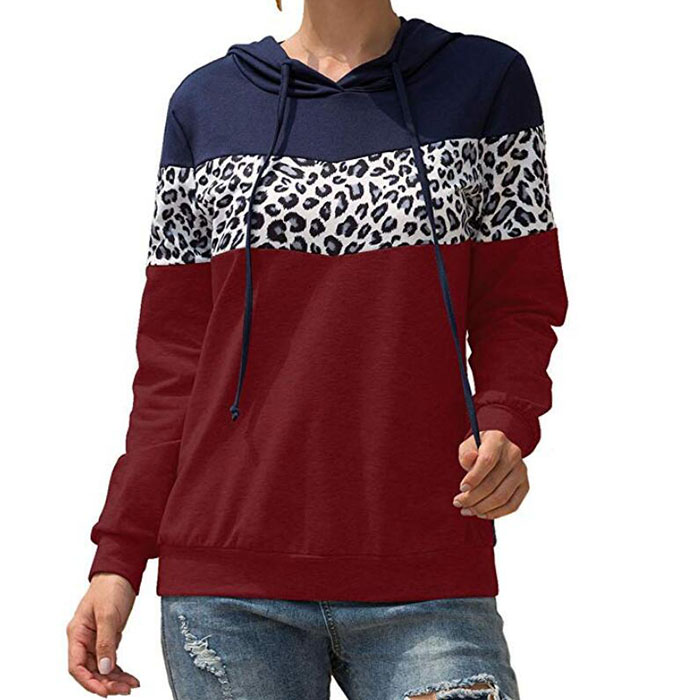 2019 Good Quality Hoodie For Woman - Leopard Print Patchwork Pullover – Westfox
