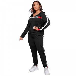 Women Yoga Wear Sport Suit Workout Sportswear Athletic Zip Up Stripe