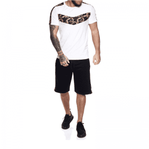Printed T Shirt and Shorts Sets Two Piece Relaxed Gym Wear Fitness