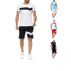 Cotton Sports Suit Mens Summer Casual T Shirts and Shorts Two Pieces Manufacturer
