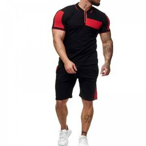 Men Sports Suits Contrast Zipper Polo Cheap Price Workout Fitness Supplier