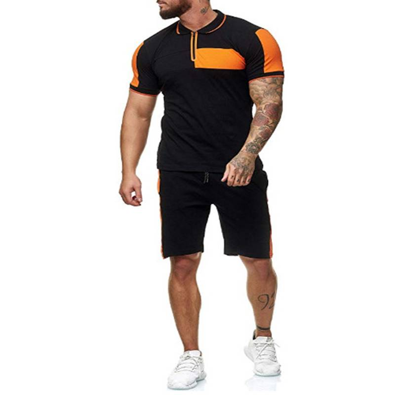 Men Sports Suits Contrast Zipper Polo Cheap Price Workout Fitness Supplier Featured Image