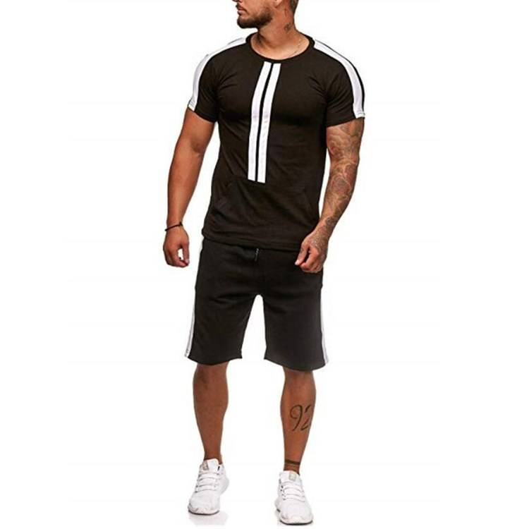 Mens Tracksuit Kangaroo Pocket Shorts Sports Stripe Casual LOW MOQ Featured Image